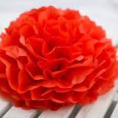 Бумажный помпон из тишью 25 см красный