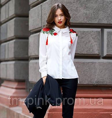 """Блуза шифонова +квітка колекція """"Капучіно"""""""