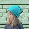 Детская демисезонная шапочки бини лазурь. Размеры: 44-46, 46-48, 48-50, 52-54 см