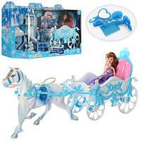 Карета 689Y (8шт) с лошадью, 51см, кукла,22см, аксессуары, в кор-ке, 62,5-18,5-28см