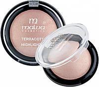 Хайлайтер компактный Malva Crystal Marble Тон 02 мерцающий розовый