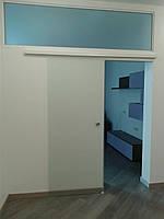 Стеклянные раздвижные одностворчатые двери матовые (пескоструйная обработка)