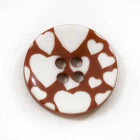 Пуговица И131 пласт. красно-белая, D 20 мм