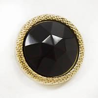 Пуговица И132 комбинированная черно-золотая, D 20 мм