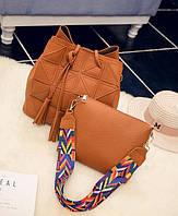 Стильный набор, сумка и клатч с красочным поясом