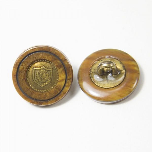 Пуговица И158 комбинированная коричнево-латунная, D 16 мм