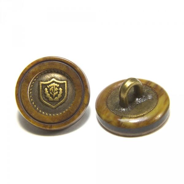 Пуговица И168 комбинированная коричнево-латунная, D 14 мм