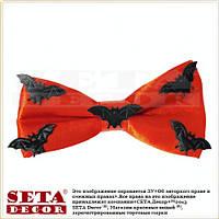 Галстук-бабочка оранжевая с летучими мышами на Хэллоуин