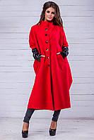 Кашемировое пальто с рукавами экокожа