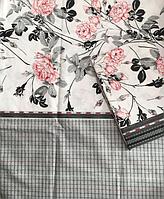 Комплект нежного серого постельного белья из бязи Gold, Розы