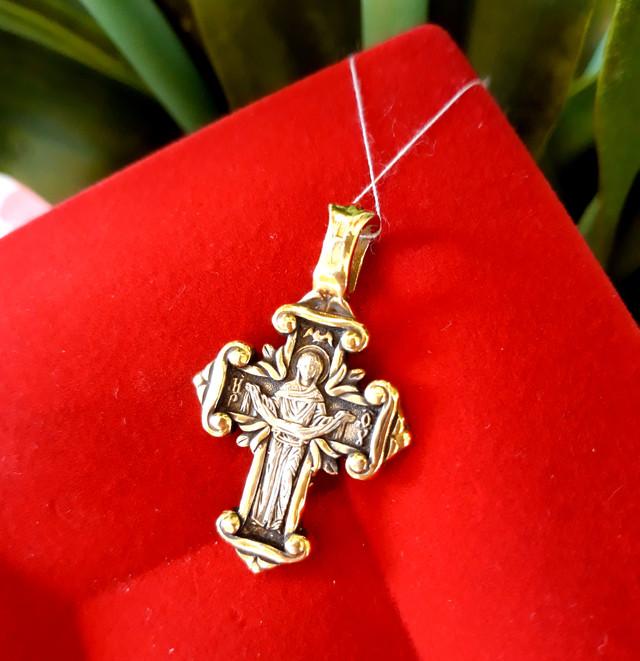 Серебряный крестик с позолотой Покрова Богородицы фото 1