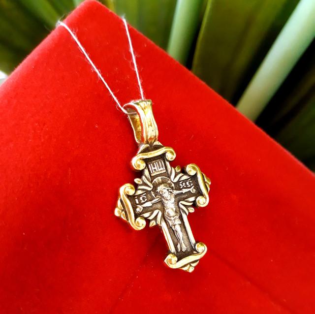 Серебряный крестик с позолотой Покрова Богородицы фото 2