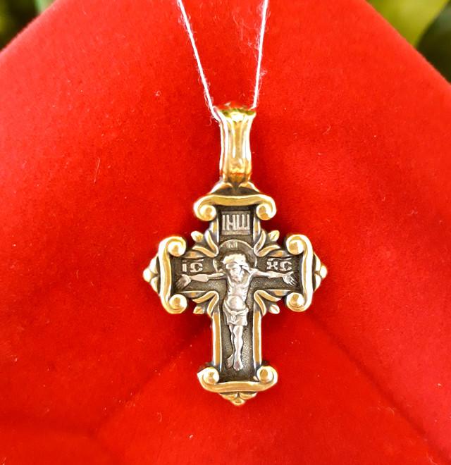 Серебряный крестик с позолотой Покрова Богородицы фото 4