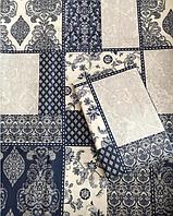 Стильный комплект сине-белого постельного белья из натуральной бязи Gold, 100% хлопок