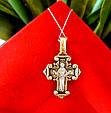 Серебряный крестик Покрова Богородицы с позолотой, фото 5
