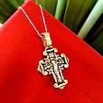 Серебряный крестик Покрова Богородицы с позолотой, фото 4