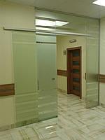 Стеклянная перегородка с раздвижной дверью для офиса