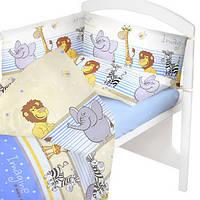 Комплект постельного белья в детскую кроватку Африка синий (простынь, наволочка, пододеяльник)