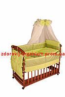 Детская постель комплект однотонная белая с цветным кружевом(8 элем.)  кружево - хаки