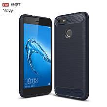 Чехол накладка TPU Fiber Carbon для Huawei Nova Lite 2017 синий