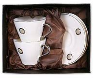 Чайный сервиз фарфоровый 4 предмета 2 чашки 200мл+2блюдца