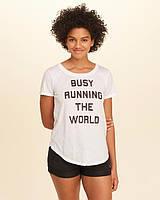 Белая футболка с принтом Hollister, фото 1
