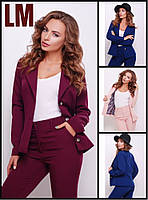 Р 42,44,46,48,50 Пиджак 881753 женский модный деловой осенний весенний батал на работу однотонный жакет в офис