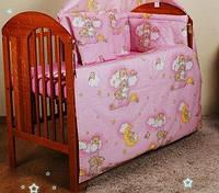 Набор постельного белья в детскую кроватку из 6 предметов Мишки на лестнице розовый