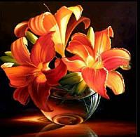 Алмазная вышивка 30*30 цветы оранжевые, львиное сердцечастичное, круглые алмазы