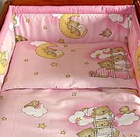 Защита бампер в детскую кроватку  из двух частей Мишки на лестнице розовый