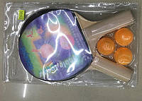 Теннис настольный, ракетки, 3 мячика, 6мм, T1711