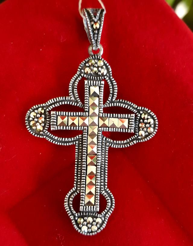 Серебряный крестик с марказитами. Капельное серебро фото 5