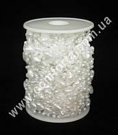 33934 Сердечки + жемчуг, бусы  белые перламутровые, диаметр бусин ~ 3 мм и 10 мм, длина нити ~ 30 м