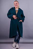 Сарена. Женское пальто-кардиган супер батал. Бутылка.