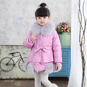 Куртка зимняя детская с меховыми шариками снизу, фото 2