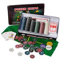 Настольная игра M 2776 (12шт) покер,300фиш(с номин-5вид,пласт),2к.карт,сукно,в кор-ке(жел),33-19-5см