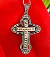 Серебряный крестик с марказитами. Капельное серебро, фото 2