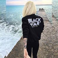 Свитшот с белым принтом Black Star | Кофта Mafia logo