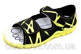 Черно желтые сандалии детские 3F из Польши 26-17 cm