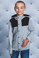 Кофта для мальчика с капюшоном св-серая