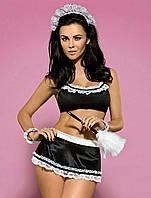 Эротический ролевой костюм горничной, домработницы (черный)