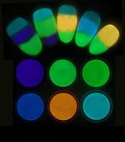 Светящийся в темноте порошок люминофор 6 баночек