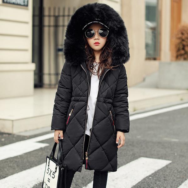 Пальто- пуховик для девочки ромбы