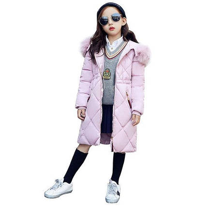 Пальто- пуховик для девочки ромбы, фото 2