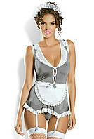Эротический ролевой костюм горничной, домработницы (серый)