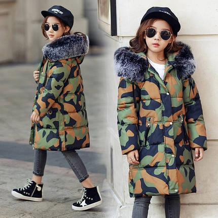 Куртка зимняя детская камуфляж, фото 2