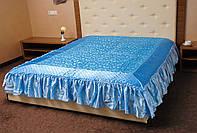 Покрывало с рюшами на кровать Ретро 180*200.Голубой.