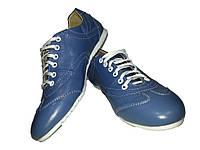 Кроссовки GT голубые натуральная кожа на шнуровке
