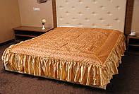 Покрывало с рюшами на кровать Ретро 180*200.Золото.