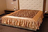 Покрывало с рюшами на кровать Ретро 180*200.Темное золото.